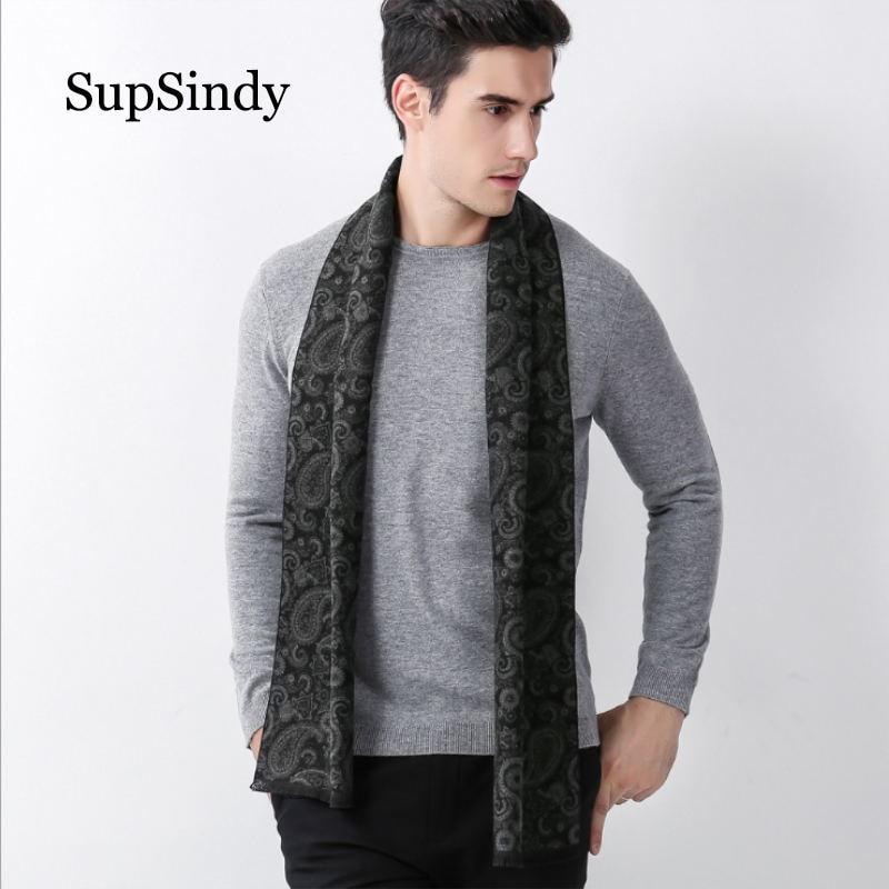 SupSindy Winter scarf men Vintage Soft Paisley Design gray scarves luxury shawl Warm wrap cashmere wool Acrylic Casual men scarf(China)