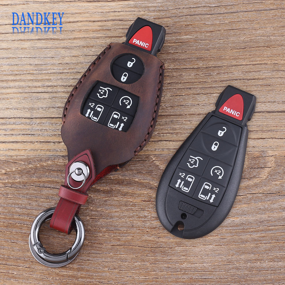 Dandkey Genuine Leather 7 Button Key Shell Fob For Dodge Grand Caravan For Chrysler Town & Country Car Key Case CoverDandkey Genuine Leather 7 Button Key Shell Fob For Dodge Grand Caravan For Chrysler Town & Country Car Key Case Cover