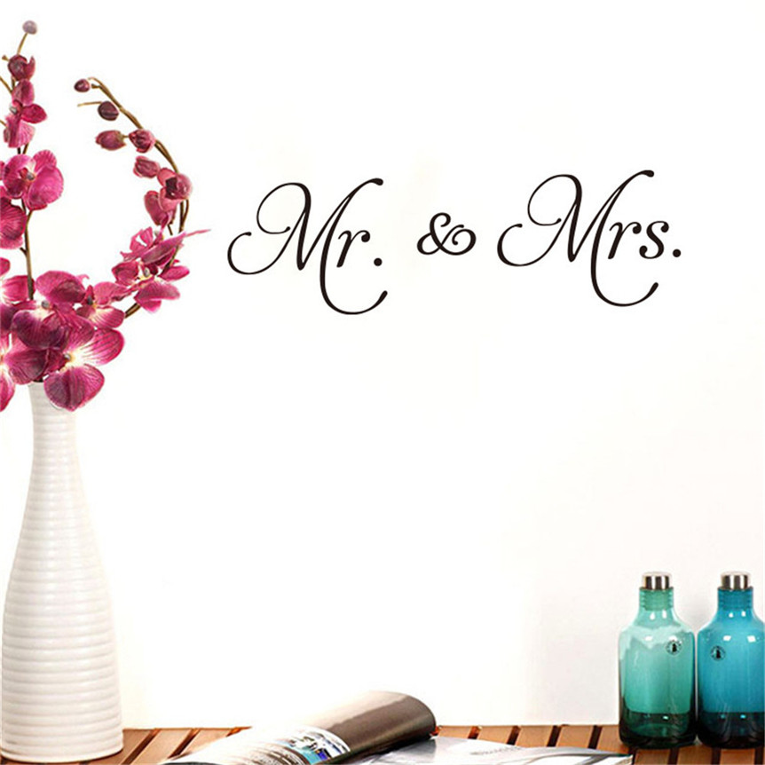 Wallpaper Mr Mrs Love Letter Diy Wall Stickers Home Room Decor Drop