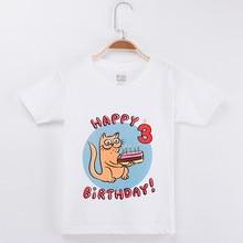 2019 Cat T-shirt Boy Birthday Clothes For Girls Cartoon Printing 100% Cotton Children Clothing Baby Tops Child Shirt Brand