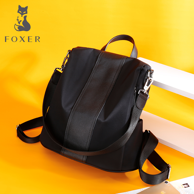 FOXER Women Fashion Oxford+Leather Backpack School Bag For Teenage Girls Casual Female Practical Functional Travel Zipper kanken