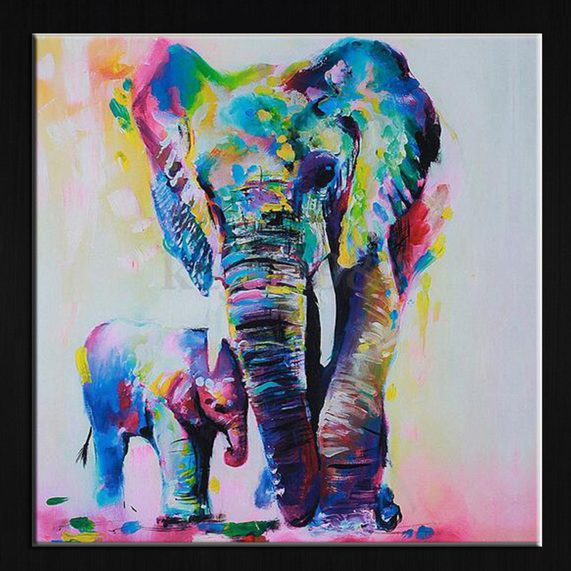 60cm Watercolor Gajah Inkjet Frameless Canvas Lukisan Seni Minyak Lukisan Abstrak Lukisan Abstrak moden Artwork Painted Wall Decor