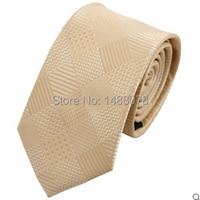 2015 New Checked Beige Ties Woven Microfiber Jacquard Tie Wedding Imitate Silk Cravate For Men Slim Narrow Checked Beige Ties