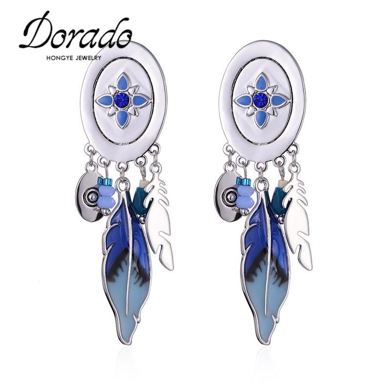 Dorado Luxury Red Blue Orange Enamel Drop Earring Long Tassel Leaves Dangle Earring for Women High Quality Bijoux