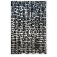 Custom Stylish Popular Waterproof Bath Curtain Gray Brick Wall Scenery Shower Curtains 48 X 72 Inch
