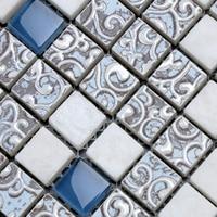 hot glass mosaic crystal puzzle background wall bathroom tile wallpaper kitchen backsplash shower decoration building material