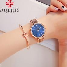 Delgada señora de las mujeres de japón del reloj de cuarzo horas reloj de moda pulsera de cadena de acero inoxidable de negocios regalo de cumpleaños de la muchacha caja de julius