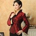 Novo estilo Vintage mulheres revestimento do revestimento casacos chinês tradição do bordado borgonha tamanho : m,L Xl, Xxl, Xxxl MN035