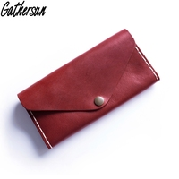 Leather Purse Women 2018 Handmade Full Grain Vegetable Tanned Leather Long Clutch Wallet Ladies Cell Phone Purse