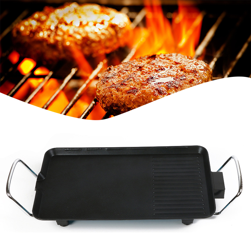 110V/1500W Rectangle Double Layers Smokeless Electric Pan Grill BBQ Grill Raclette Grill Electric Griddle# electric fry grooved griddle electric griddle grill fry pan electric flat pan