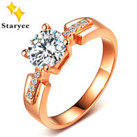 Certified Forever Brilliant 1 Carat Moissanite Jewelry Real 18K Solid Rose Gold Women Engagement Rings Trendy