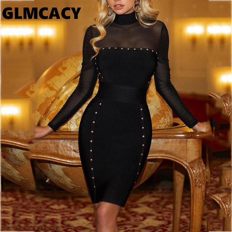 Women Rivets Embellished Mesh Yoke Bodycon Dress Sexy & Club Lace Solid Above Knee Mini Long Sleeve Party Dress Women's Clothing
