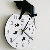 3d Watch Wall Stickers Naughty Cat Acrylic Clock Wall Clock Modern Design Home Decor Wall Sticker