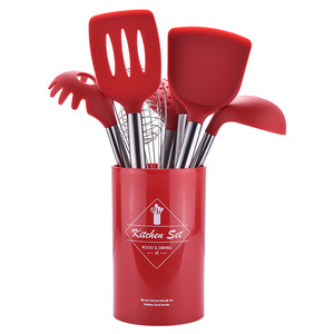 Image 2 - Stainless Steel+Silicone Cooking Utensil Kitchen Tools Turner Soup Spoon Strainer Pasta Server Egg Beater Spatula Food Tongs Red