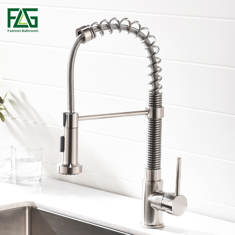 FLG Kitchen Faucets Brushed Nickel Faucets for Kitchen Sink Single Pull Out Spring Spout Mixers Tap Hot Cold Water Tap Crane 924