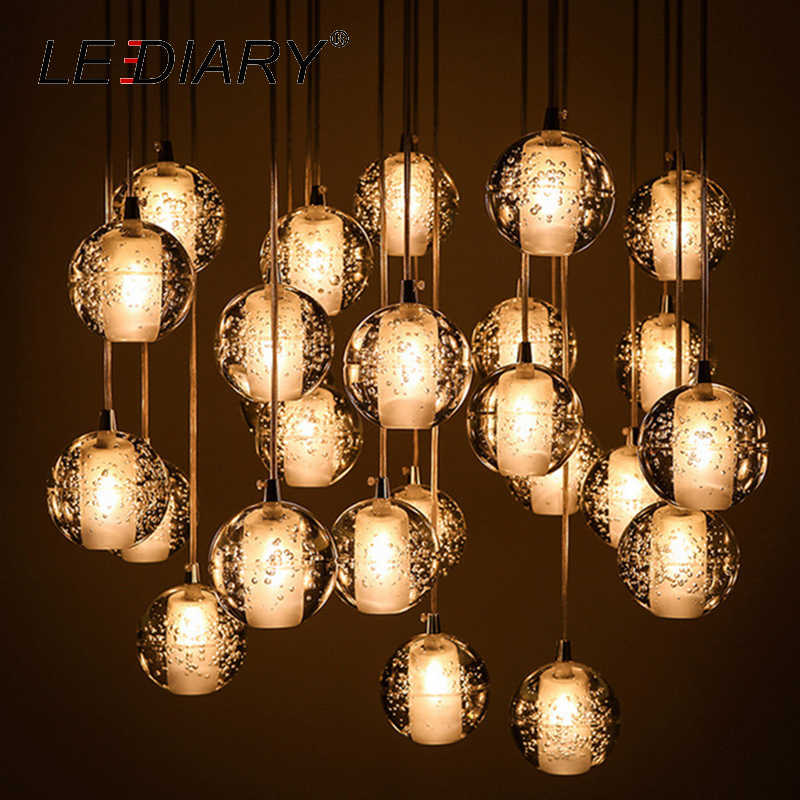 LEDIARY Art LED Pendant Lamp Crystal Glass With Bubble Round 3W 220V G4 80MM 100MM For Living Room Shop Window Hall DecorationLEDIARY Art LED Pendant Lamp Crystal Glass With Bubble Round 3W 220V G4 80MM 100MM For Living Room Shop Window Hall Decoration