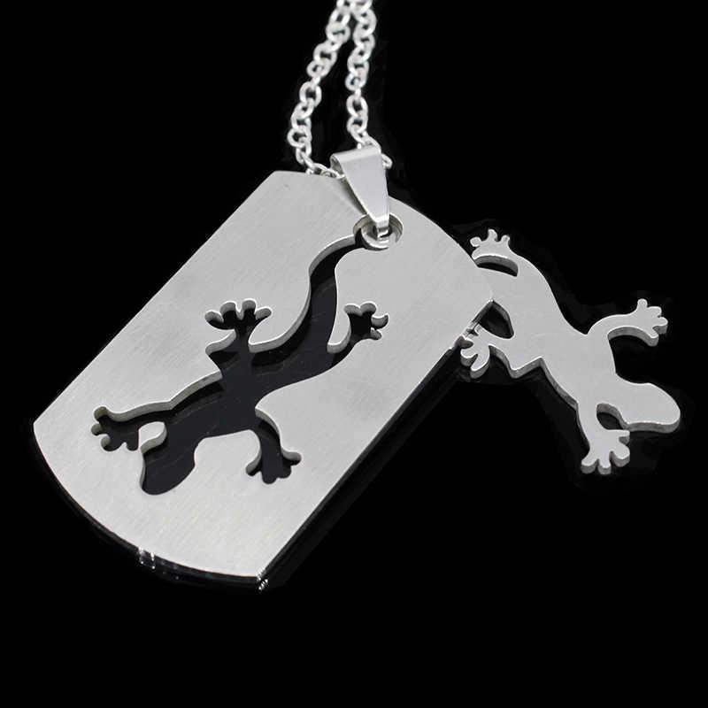 TAFREE Stainless Steel Removable Gecko Necklaces & pendants Metal Chain Women Men Jewelry Lizard Salamander Necklaces SS58