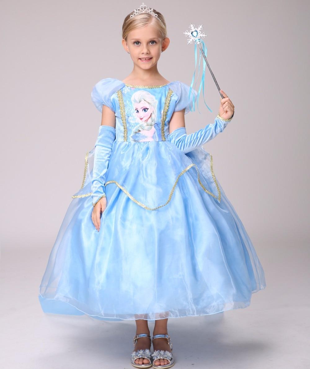 HOT!Snow Queen Girls Elsa Dress+Gloves+Cape Children Kids Christmas Cosplay Costume Toddler Princess Dress Halloween Party dress