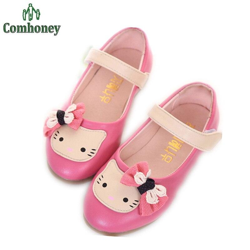 Hello Kitty Muchachas de La Princesa Rosa Sandalias Niños Sandalias de Cuero de LA PU Para
