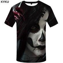KYKU Clown T-shirt Men Tshirt Skull Hip hop Streetwear Flower Cool Terror Funny T shirts Anime Clothes Japan Style Mens Clothing