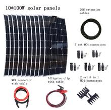 10pcs Mono 100w Solar Panels Modules with MC4 Connectors and Cables House Use Off Grid Solar Power System