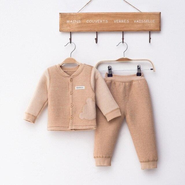 (2pcs/set)Newborn Baby 0-18M Brand  Boy Girl warm Clothes set 100%Cotton Cartoon winter Underwear baby set s-002