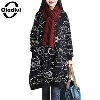 Oladivi Autumn Winter Women Cotton Linen Fashion Print Dress Long Sleeve Casual Loose Dresses Long Tops