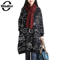 Oladivi Autumn Winter Women Cotton Linen Fashion Print Dress Long Sleeve Casual Loose Dresses Long Tops
