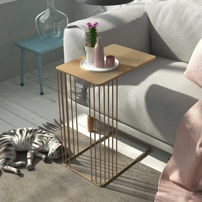 все цены на Nordic U-type metal flower modern living room sofa creative wrought iron side coffee table онлайн