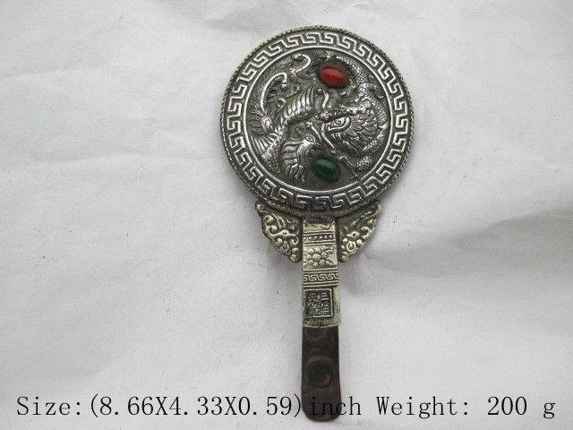 China's Tibet antique copper dragon phoenix hand mirror