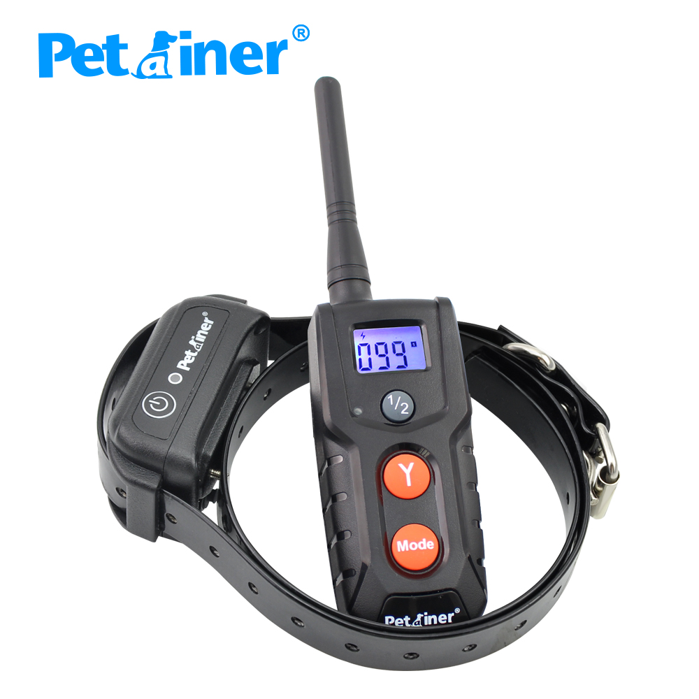 Petrainer 916 1 Pet Dog Training Collar Rechargeable Waterproof Dog Electronic Shock Training Collar with Blue