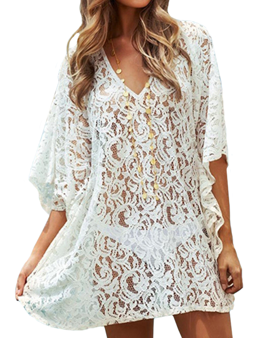 Lace Bikini Cover Up Dress White Beach Wear Cangas De ...