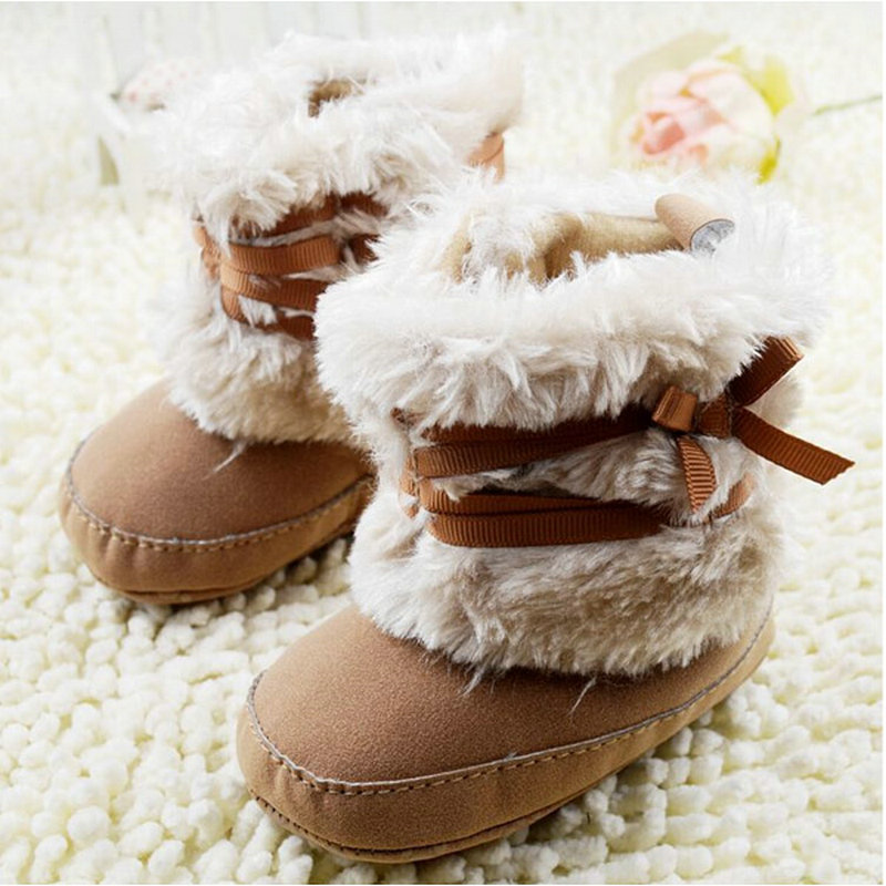 Newest Baby Kids Bowknot Boots Toddler Fleece Boots Furry Baby Snow Crib Shoes