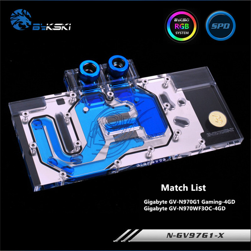 Bykski Full Coverage GPU Water Block For Gigabyte GV-N970G1 N970WF3OC Graphics Card N-GV97G1-X n gv98ti x gtx980ti gv n98tg1 full coverage water cooling head water jacket