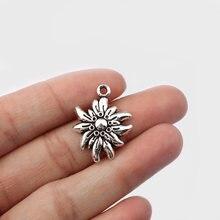 20 قطعة العتيقة الفضة اللون تنقش Edelweiss زهرة حلية قلادة قلادة النتائج مجوهرات DIY بها بنفسك اليدوية