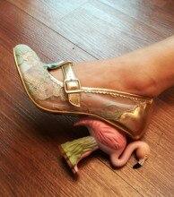 High End Customization Hollow Embroider Fabirc Strange Heel Pumps Flamingo Decor Unique Shoes Round Footwear
