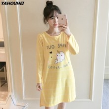 89d89bfab2 2018 Autumn 100% Cotton Nightdress Striped Nightgowns for Women Long Sleeve Night  Dress Girls Cute Cartoon Home Dress Sleepwear
