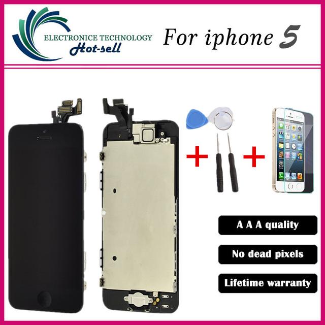 A + + + de calidad para apple iphone 5 5g lcd display de pantalla táctil digitalizador asamblea + botón casero + cámara frontal + herramientas