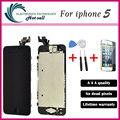 Um +++ qualidade para apple iphone 5 5g display lcd touch screen digitador + botão home + câmera frontal + ferramentas de montagem