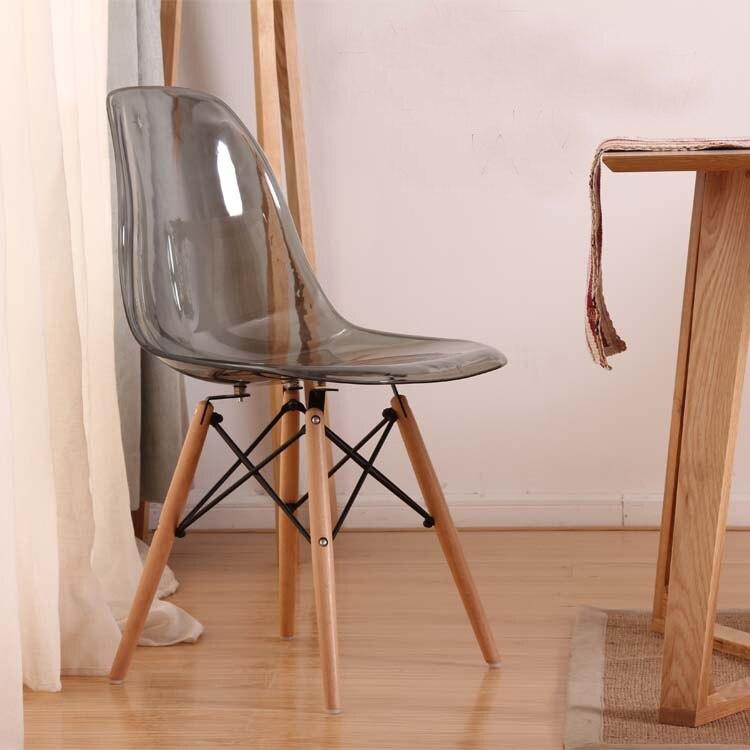 €115.64 |Chaise de fumée latérale de salle à manger moderne acrylique  transparente avec des jambes en bois/chaise classique en plastique/chaise  de ...