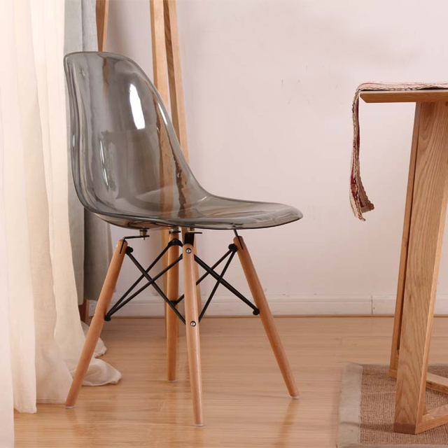 Transparent Acrylic Modern Dining Side Smoke Chair With Wood Legs/ Plastic  Classic Chair/fashion
