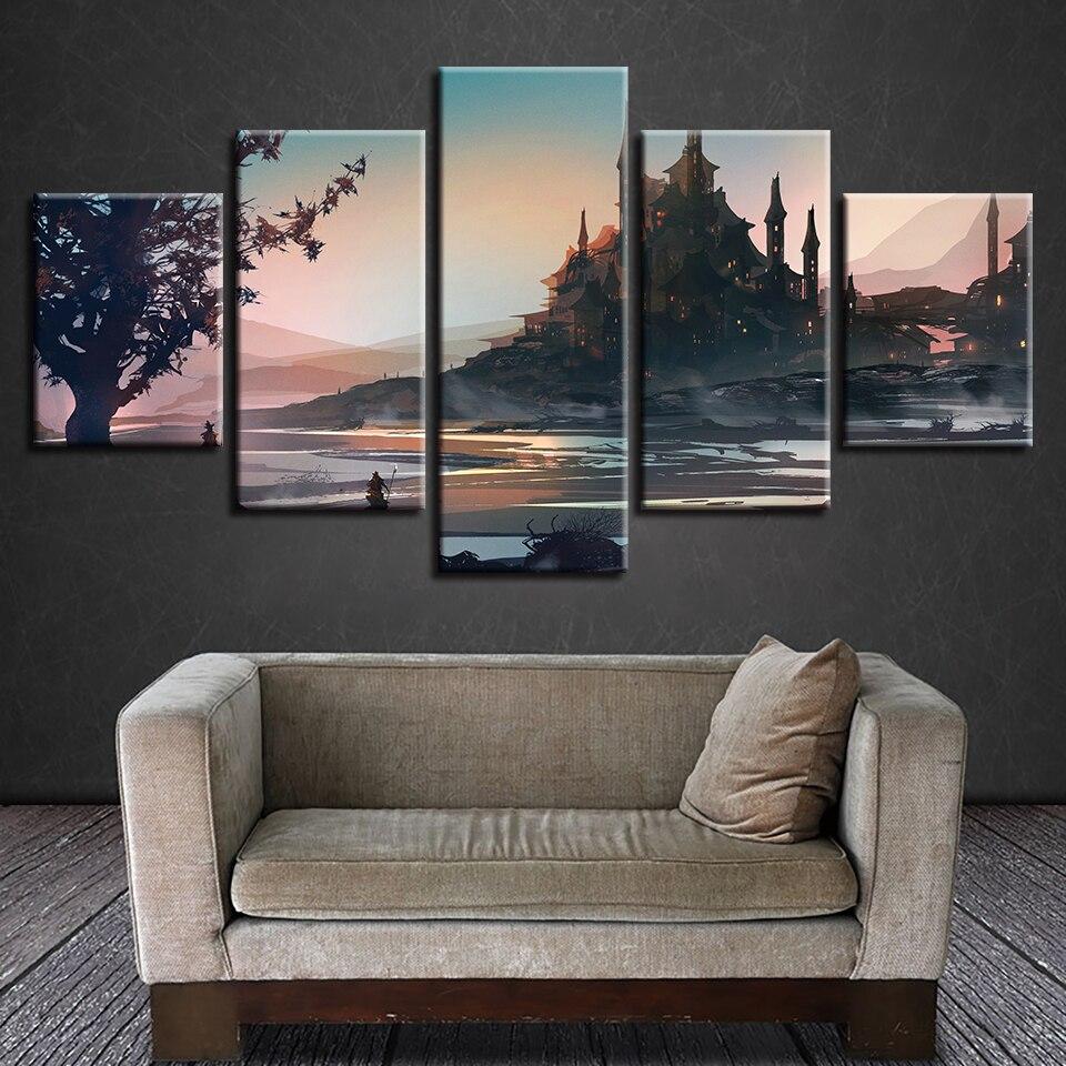 Canvas Painting For Living Room Home Decor Picture 5 Pieces/Pcs Castle Building Game Landscape Prints Modular HD Wall Art