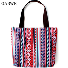 GABWE New Fashion Folding Women Big Handbag Tote Ladies Casual Flower Printing Canvas Graffiti Shoulder Bag Beach Bolsa Feminina