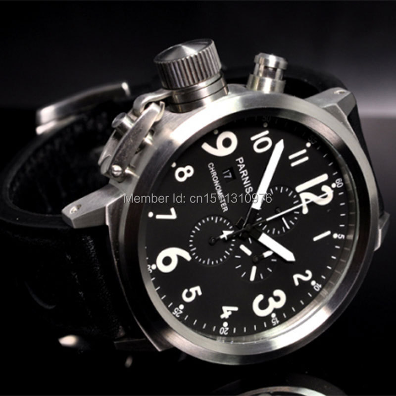 50mm Parnis Big Face black dial day date mens quartz WATCH Full chronograph P3450mm Parnis Big Face black dial day date mens quartz WATCH Full chronograph P34
