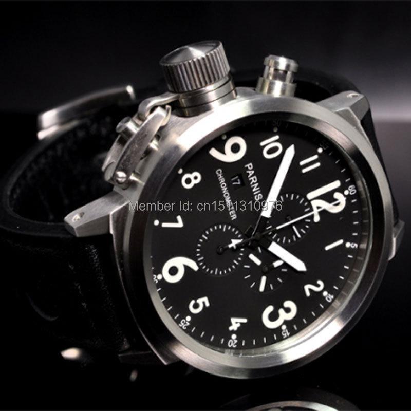 50mm Parnis Big Face Black Dial Day Date Mens Quartz WATCH Full Chronograph P34 In Quartz