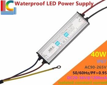 40W LED Driver DC 30V - 36V 1200MA IP67 Waterproof Power Supply 110V 220V Constant Current Lighting Transformer for Floodlight цена 2017