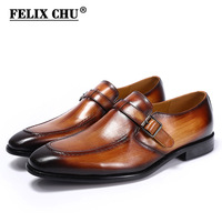 Italian Designer Luxury Formal Shoes Men Buckle Strap Flats Slip On Loafers Shoes Casual Business Office Party Mens Dress Shoes