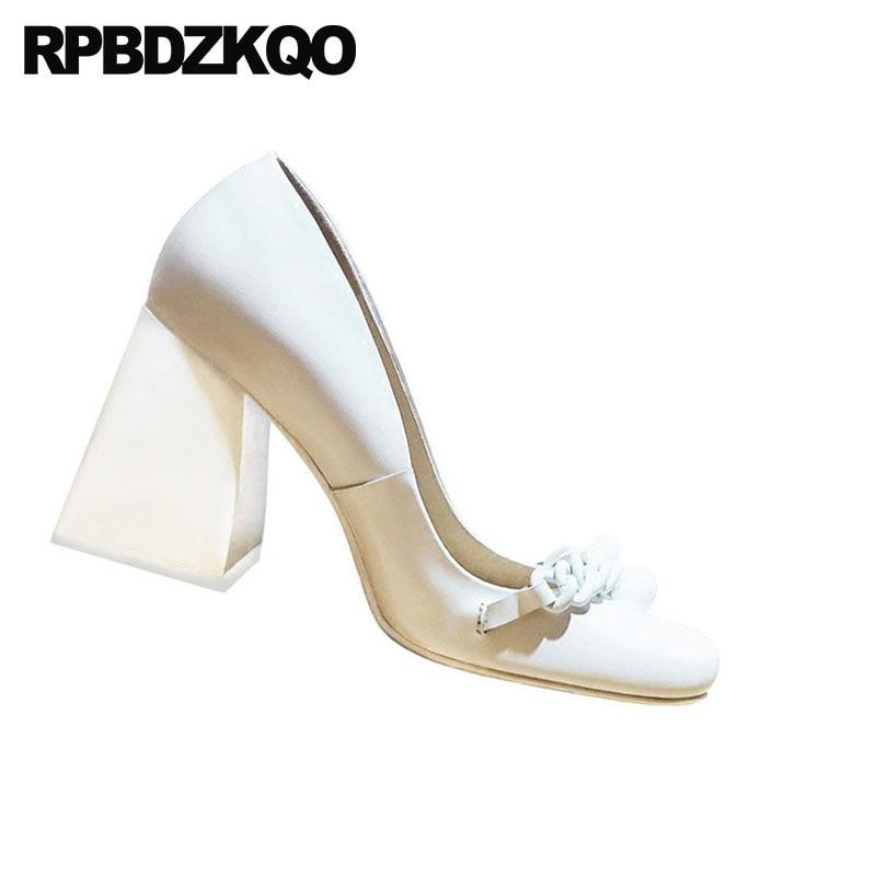 10 42 Couro Legítimo Marca Calcanhar De Bloqueio Senhora Bombas Tamanho 33 Dedo Quadrado 3 Pulgada Alta Qualidade Sexy Saltos Altos Brancos Sapatos Tamanho Grande 2018 Personalizado Primavera Outono China Novo - 2