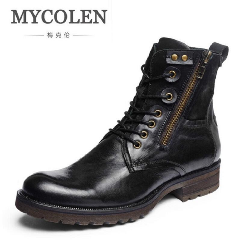 MYCOLEN Fashion Genuine Leather Ankle Boots Autumn Winter Men Outdoor Motorcycle Boots High Quality Black Zipper Martin Shoes
