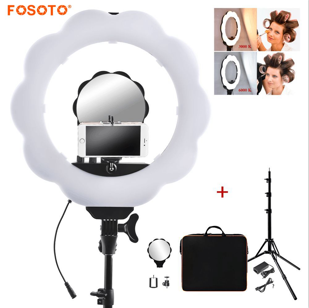 fosoto 18inch Photographic Lighting 384 Led Bi color 3000K 6000K Dimmable Camera Phone Photography Ring Light